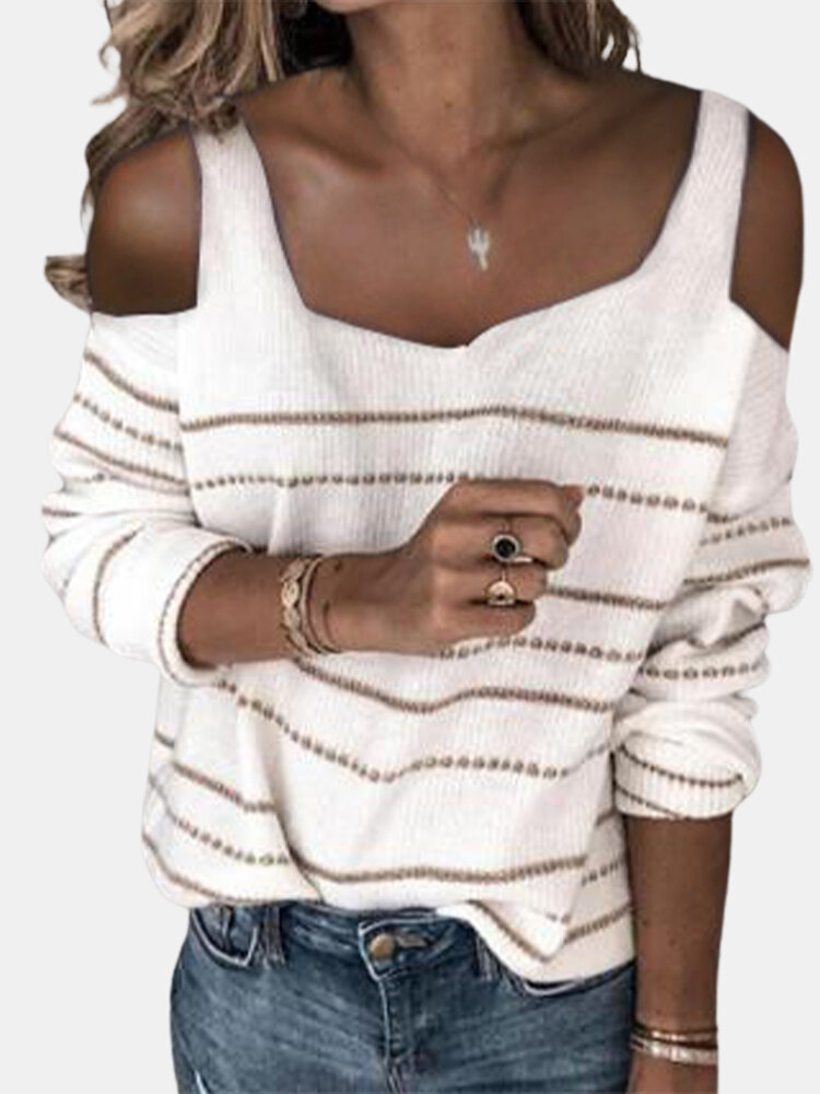 Striped Long Sleeve Off Shoulder Sweater For Women