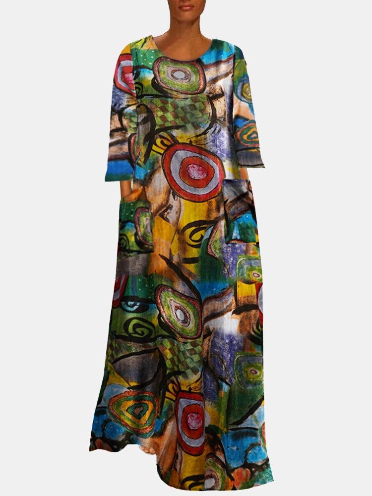 Multi-color Ethnic Print Long Sleeve Vintage Maxi Dress For Women