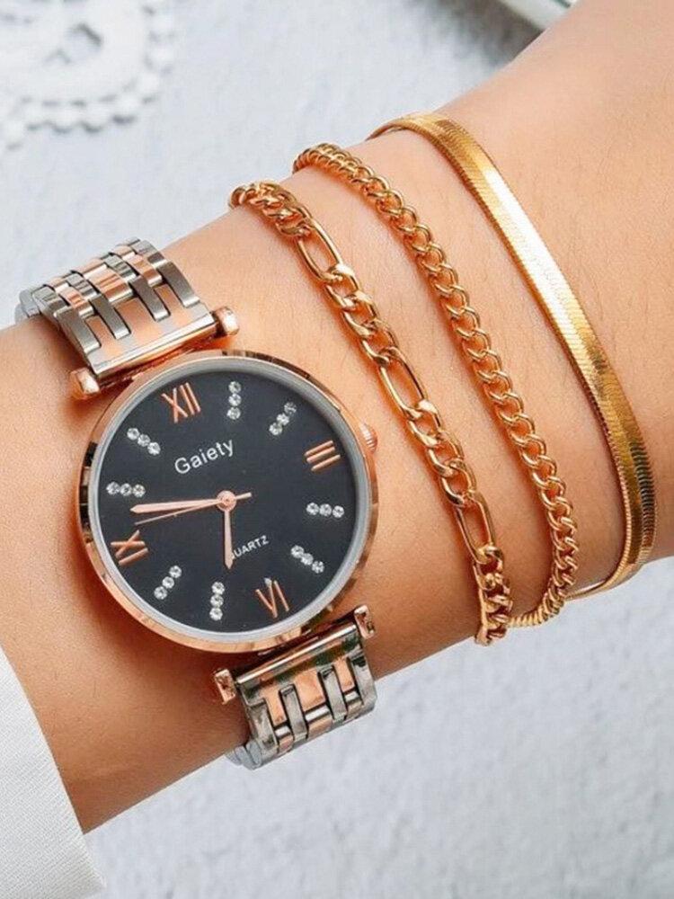 4 Pcs Ultra Thin Women Watch Inlaid Diamond Quartz Watch Chain Bracelet Set