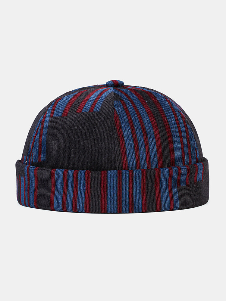 Collrown Men & Women Corduroy Patchwork Color Patch And Stripe Pattern Casual Fashion Brimless Beanie Landlord Cap Skull Cap
