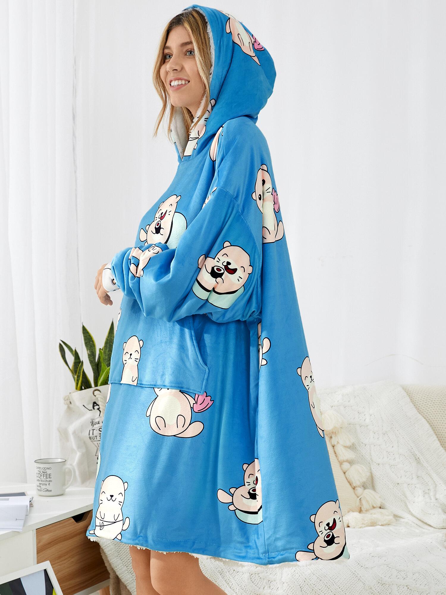 Women Thicken Cartoon Seal Print Fleece Lined Warm Two-Sided Oversized Blanket Hoodie With Kangaroo Pocket