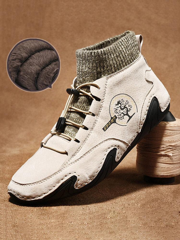 Hommes Handmade Slip Resistant Soft Doublure en peluche chaude Bottines