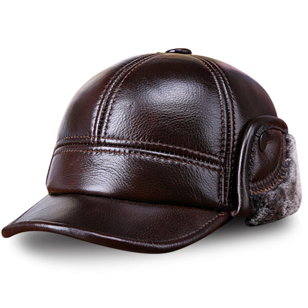 Men Cowhide Genuine Leather Baseball Cap Earflaps Earmuff Bomber Velvet Linen Hat