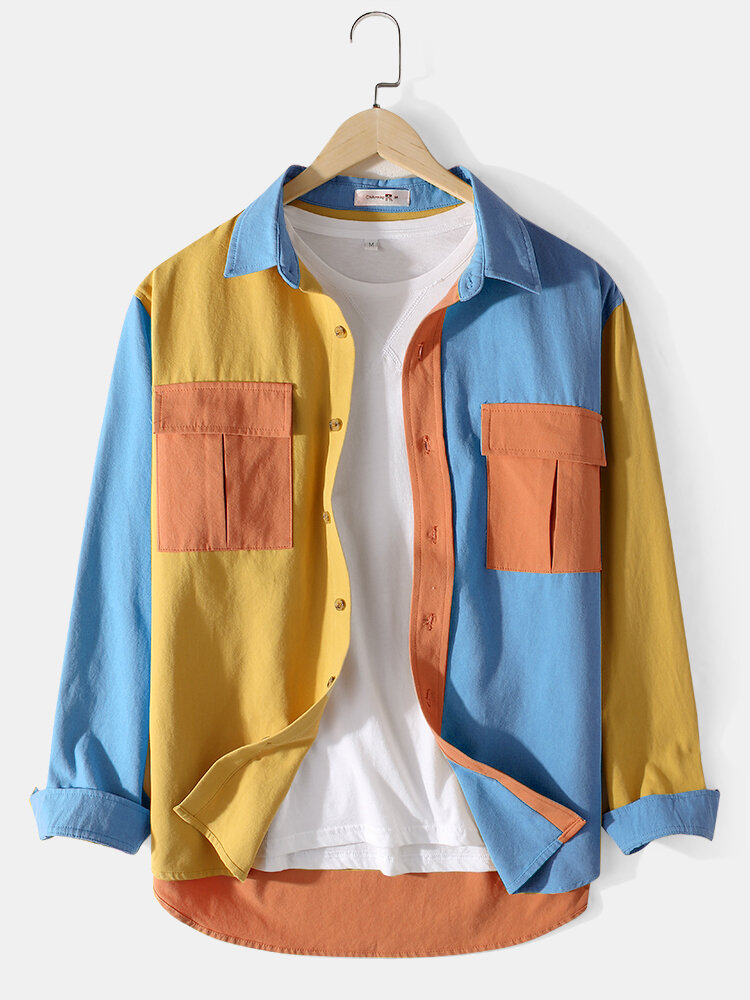 Mens 100% Cotton Colorblock Patchwork Cargo Style Long Sleeve Shirts With Flap Pockets