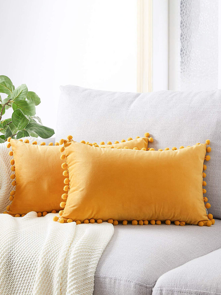 Simple Wind Velvet Ball Hug Pillowcase Plain Sofa Pillowcase Rectangular Waist Pillowcase