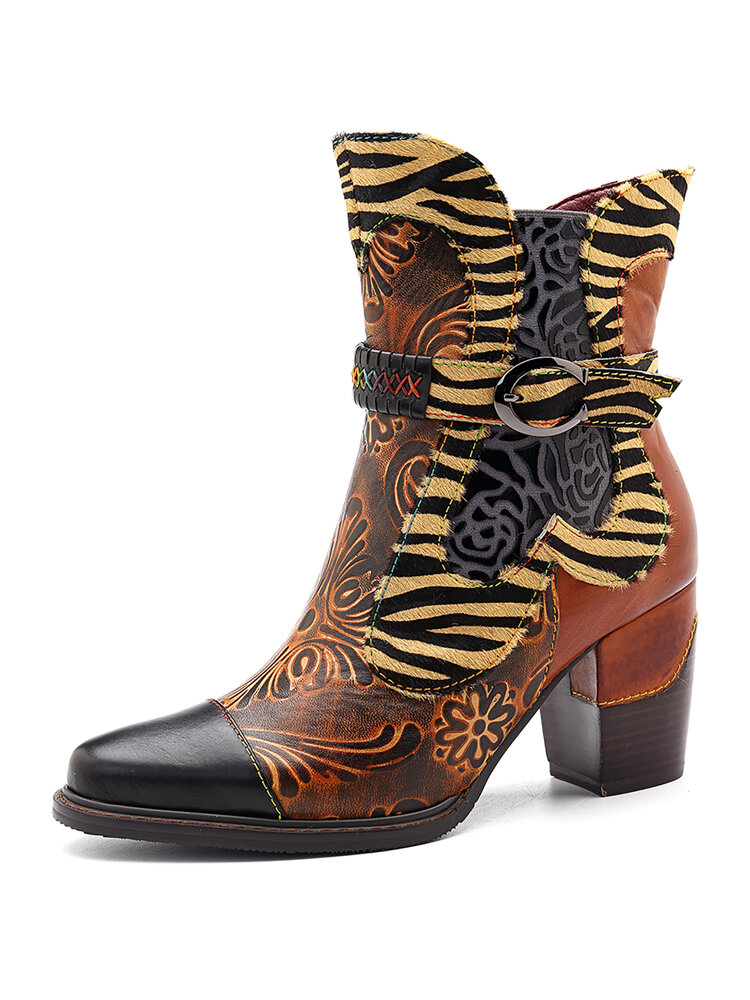 SOCOFY Handmade Cow Leather Splicing Retro Flower Pattern Buckle Stitching Zipper Boots