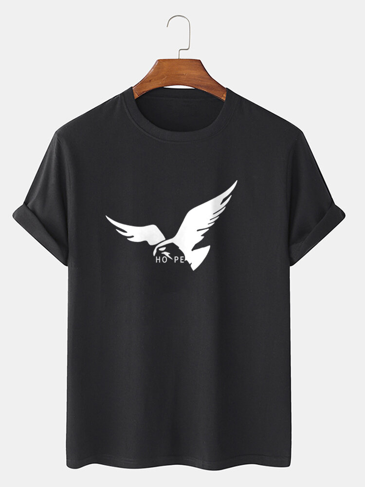Mens 100% Cotton Eagle Letter Pattern Short Sleeve Casual T-Shirt