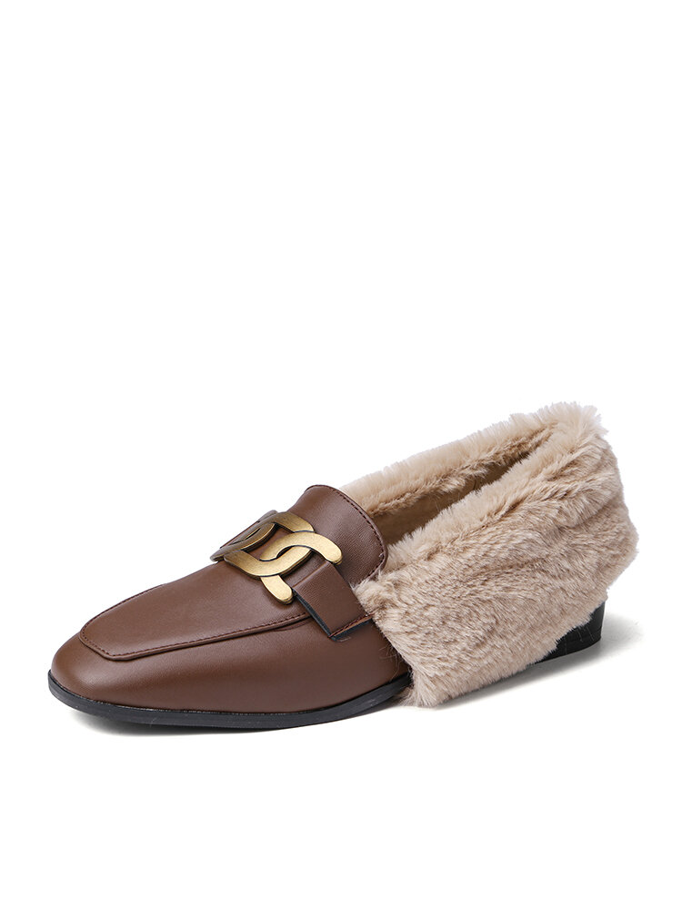 Women Casual Metal Decoration Warm Plush Lining Flanging Loafers Shoes