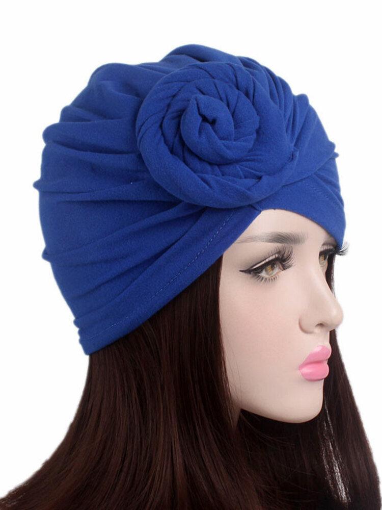 Soft Woven Flower Cotton Headband Multicolor Sanding Stretch Cotton Adjustable Hat For Woman