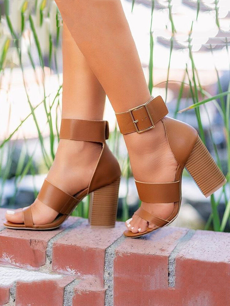 Plus Size Buckle Simple Ankle Strap Stacked High Heel Sandals Open Toe Shoes For Women