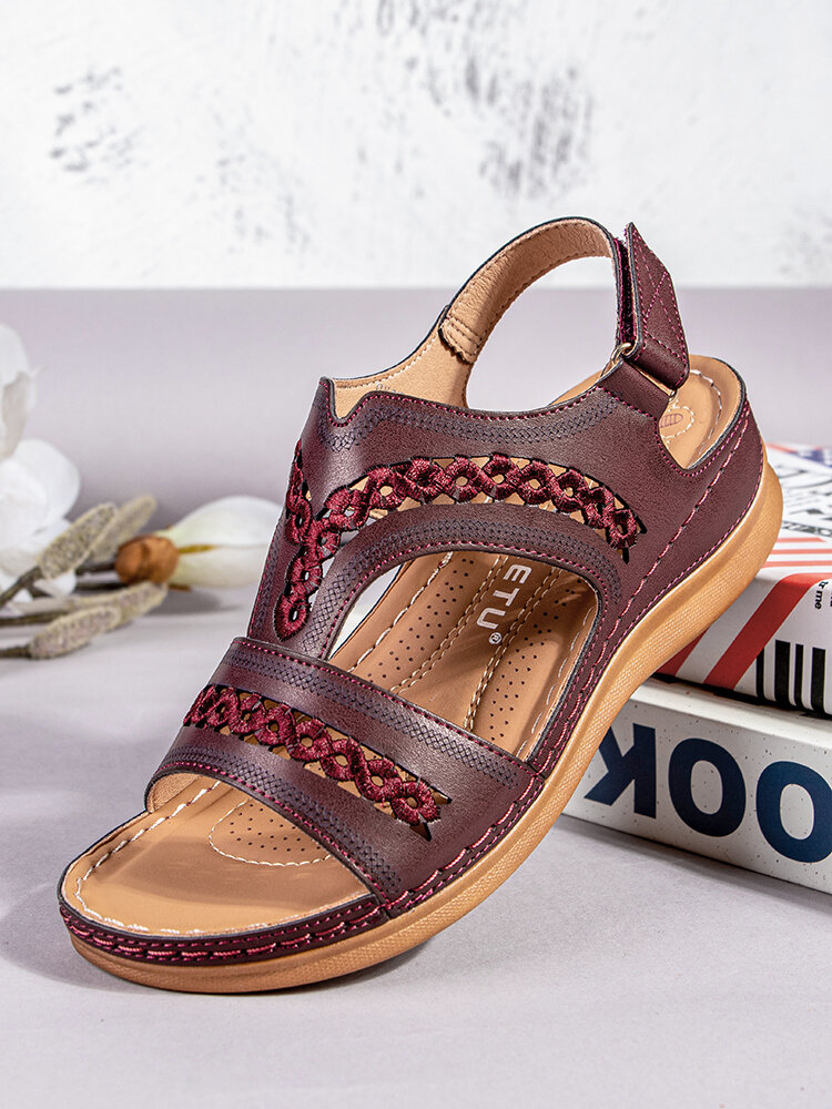 SIKETU Plus Size Women Retro Stitching Hollow Out Hook Loop Hand Made Wedges Sandals