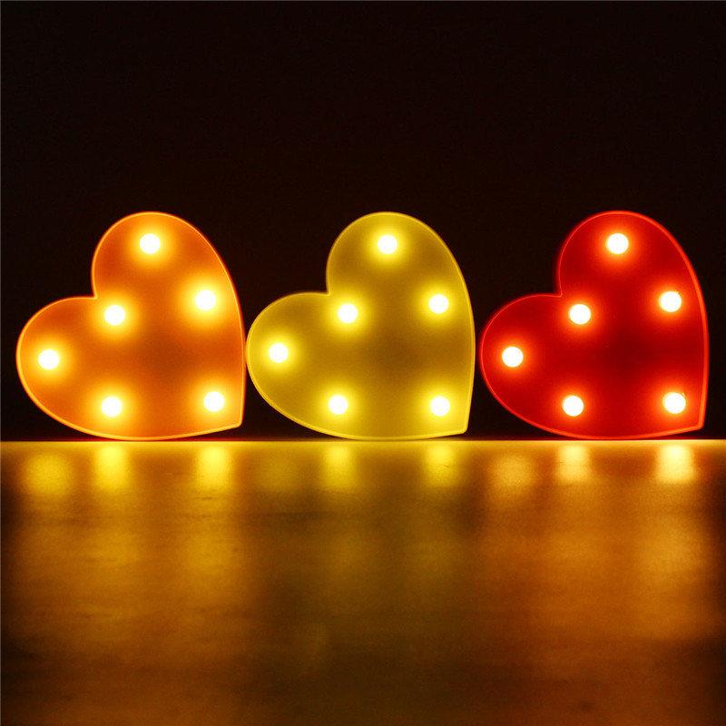 Cute Heart LED Night Light Wall Battery Lamp Baby Kids Bedroom Home Decor