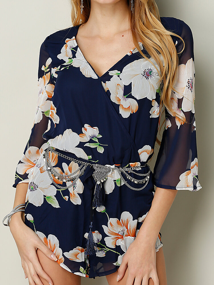 Floral Print V-neck Long Sleeve Casual Sexy Romper for Women