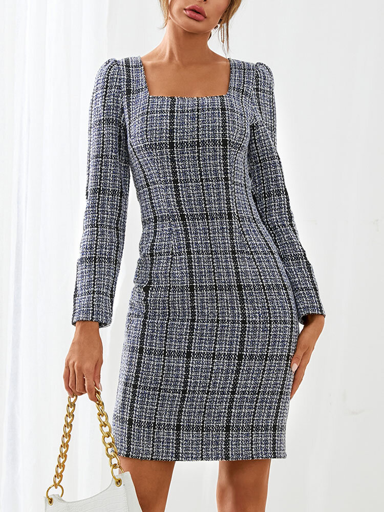 Plaid Square Collar Long Sleeve Tweed Casual Dress For Women