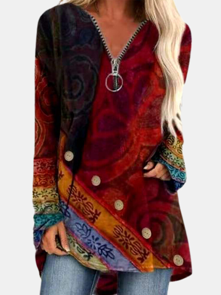 Ethnic Print Patchwork Vintage Long Sleeve Blouse For Women