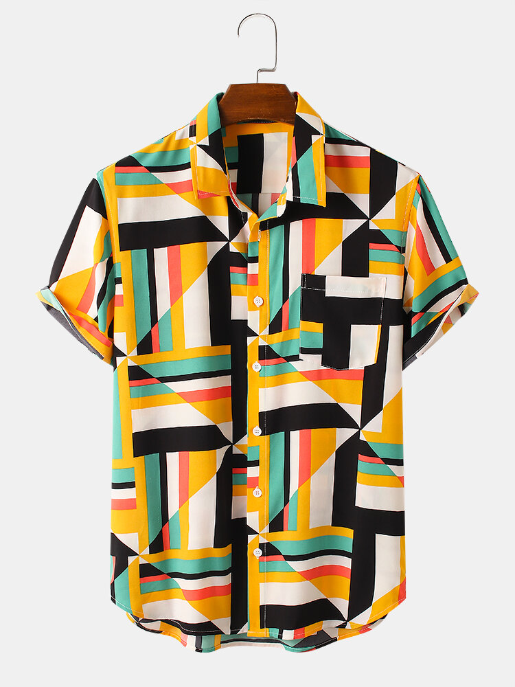 Mens Colorful Geo Print Button Up Street Short Sleeve Shirts With Pocket