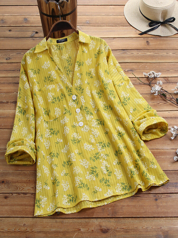 Casual Floral Printed Lapel Long Sleeve Button Pocket Blouse For Women