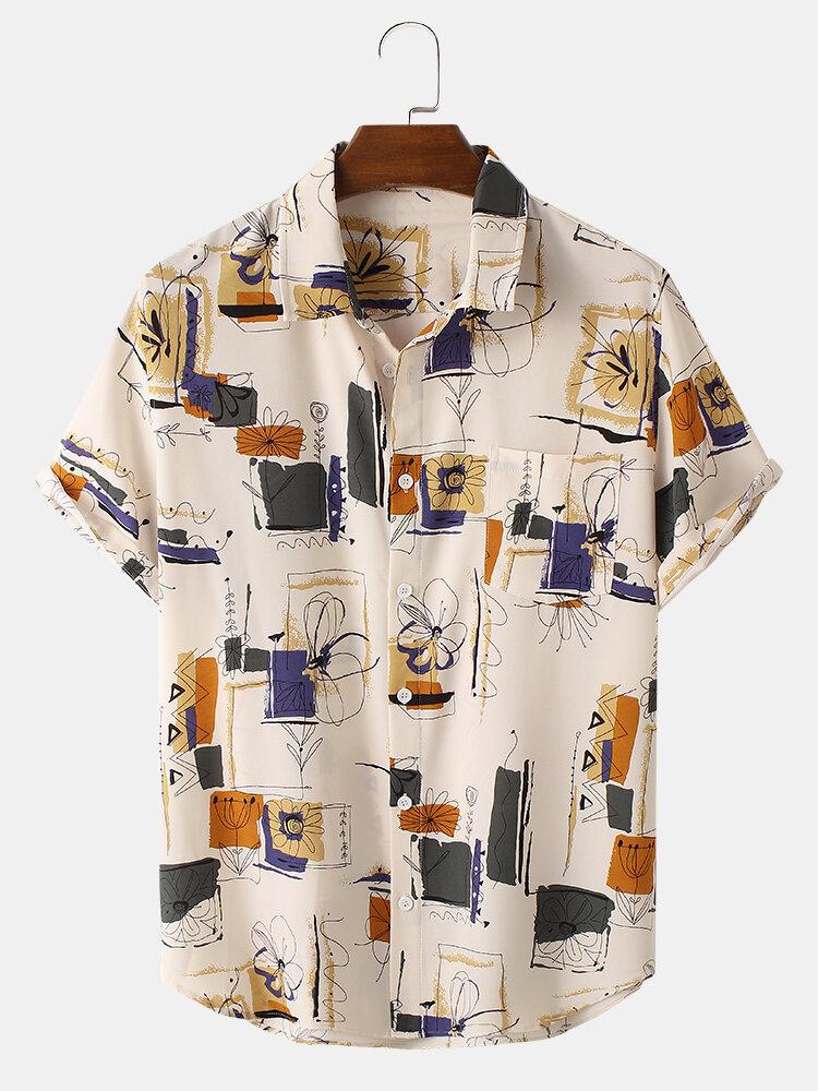 Mens Vintage Line Drawing Flower Print Street Short Sleeve Shirts