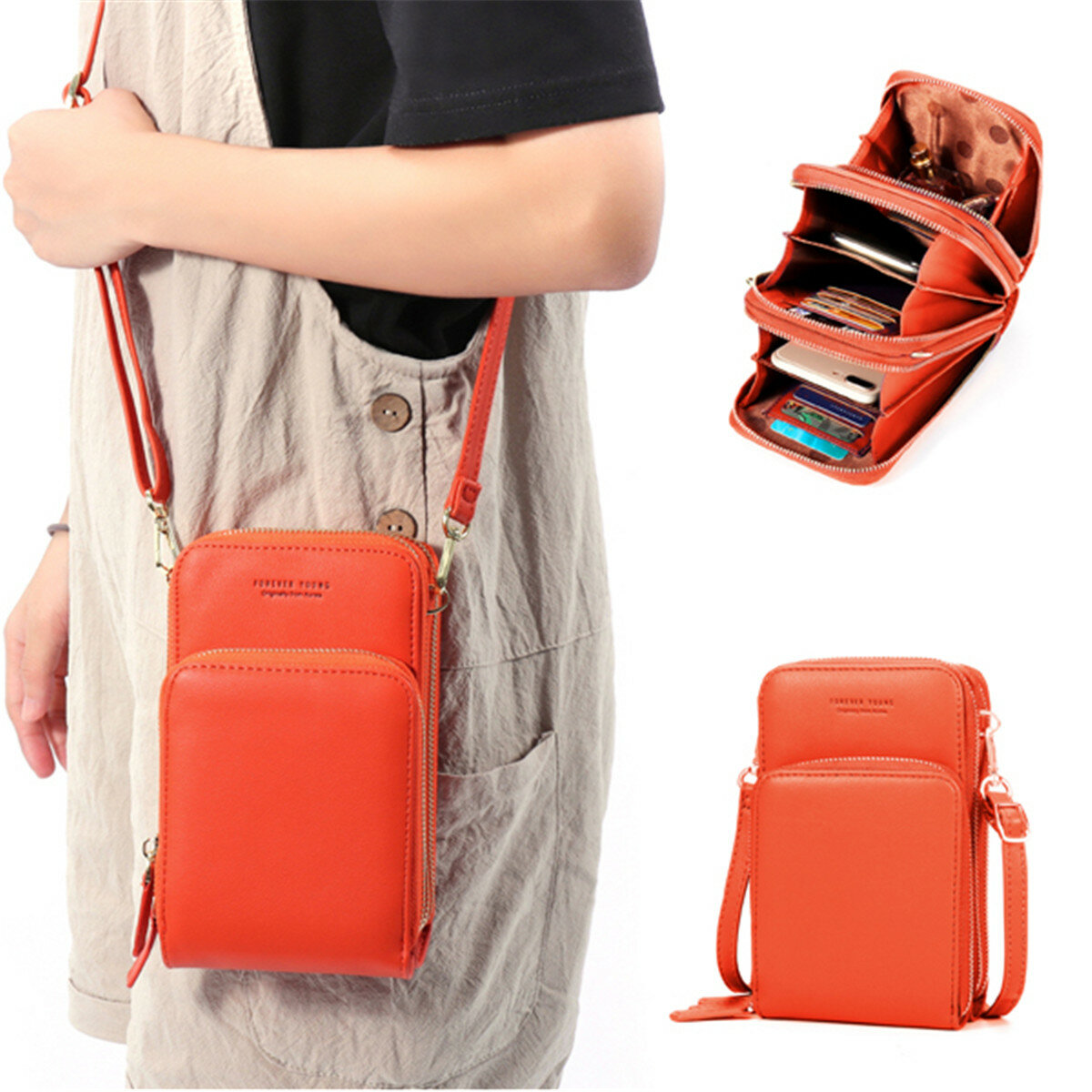 Women PU leather Clutch Bag Card Bag Phone Bag Crossbody Bag