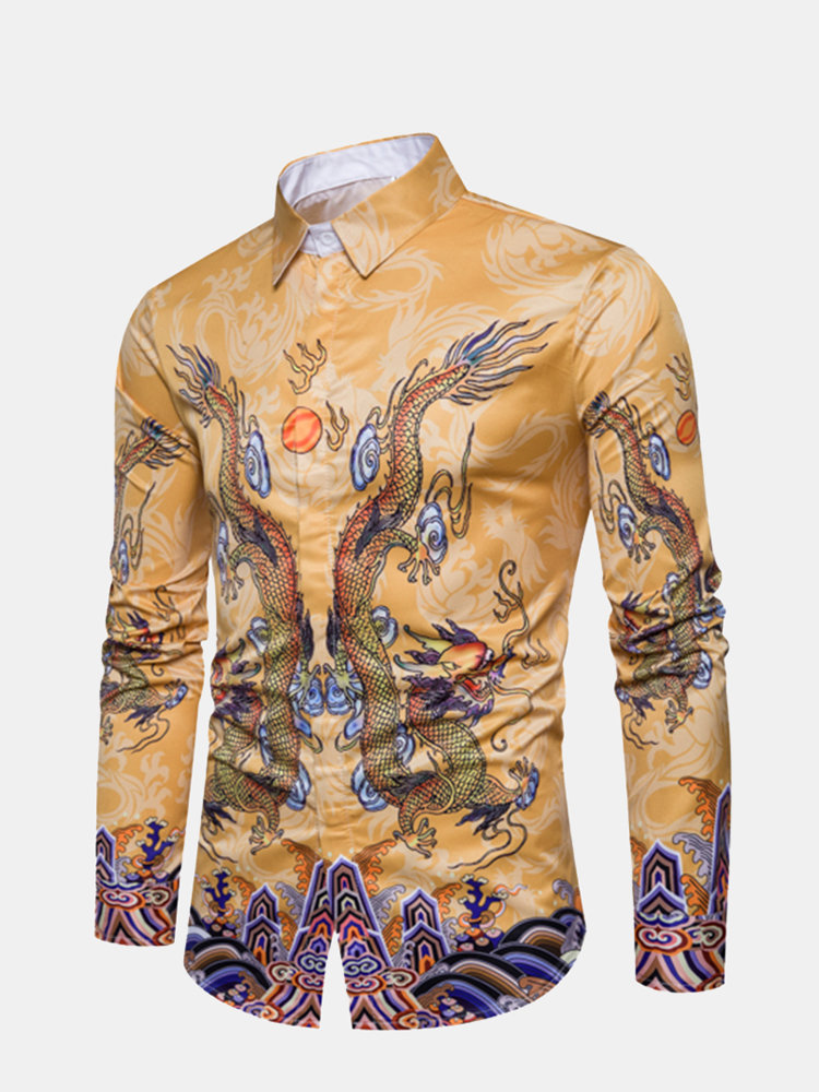 Yellow Dragon Printing Stylish Button Up Designer Shirts for Men
