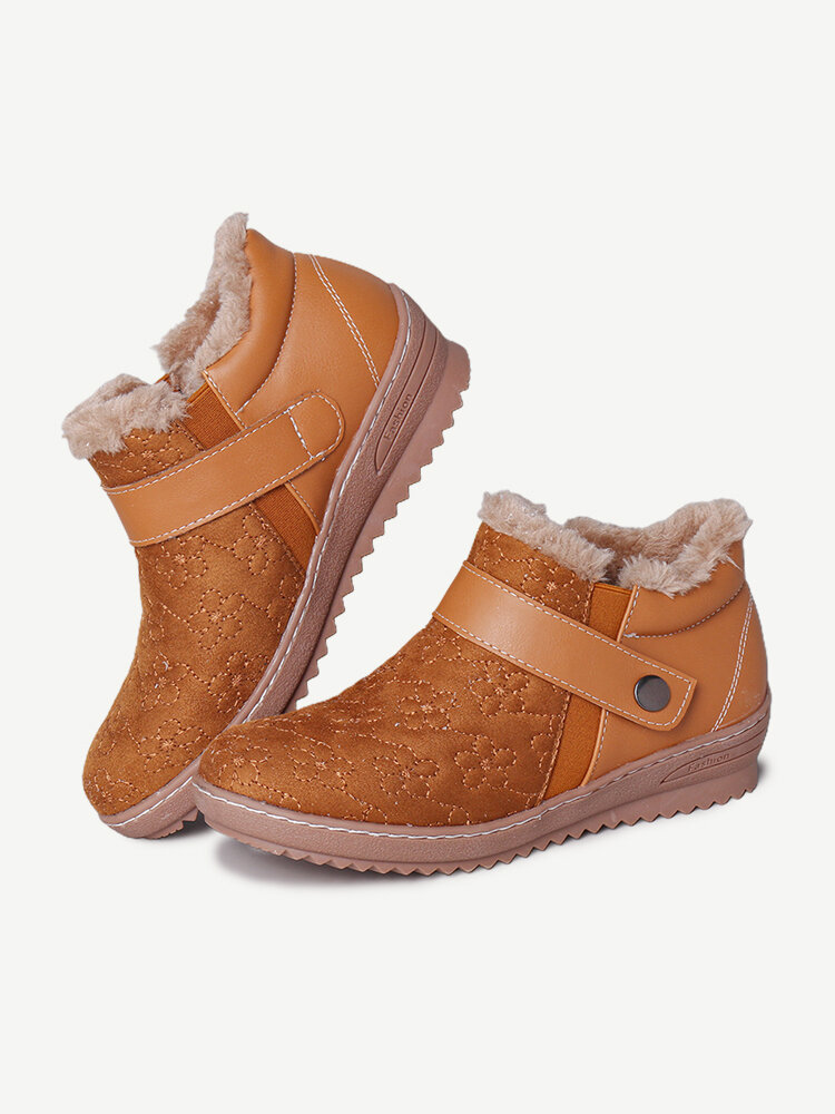 LOSTISY Suede Elastic Band Comfortable Warm Lined Winter Ankle Boots