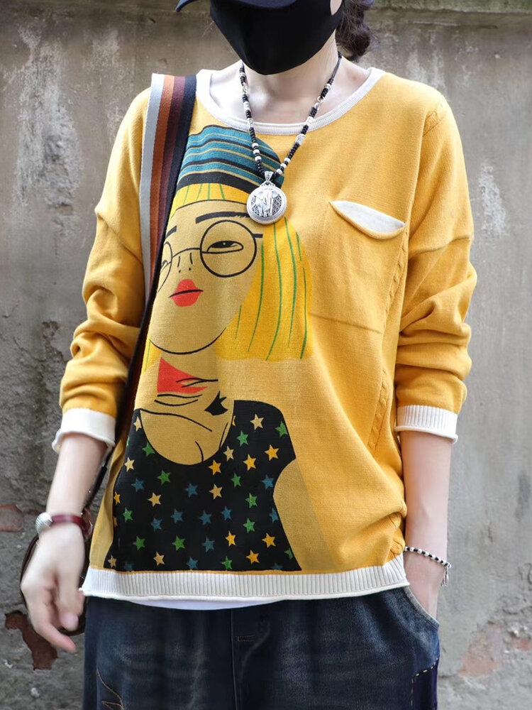 Cartoon Retro Printed O-neck Long Sleeve Sweater
