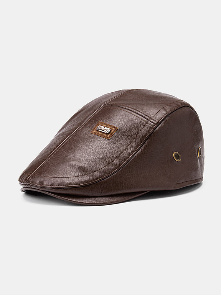 Collrown Men Faux Leather Solid Color Flat Cap Retro Casual Outdoor Forward Hat Beret Hat