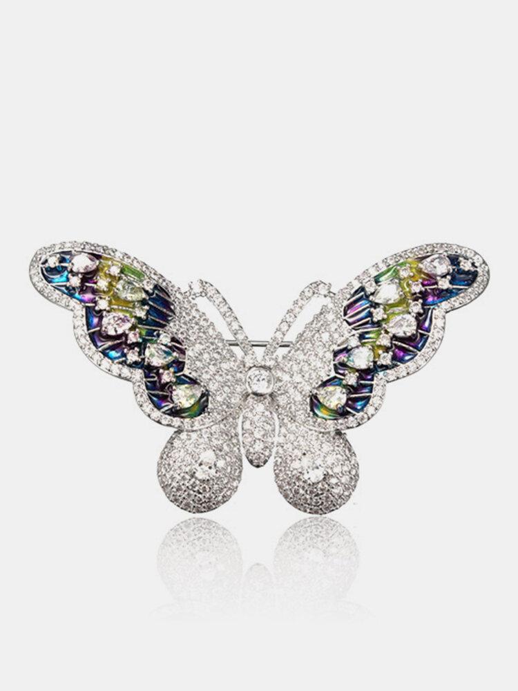 Sweet Zircon Butterfly Brooch