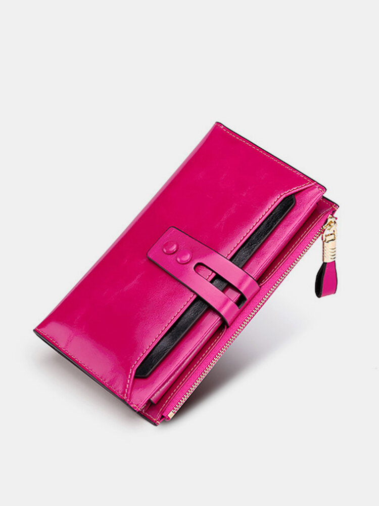 RFID Oil Wax Genuine Leather 17 Card Slot Wallet Multi-function Phone Purse Solid Coin Bag