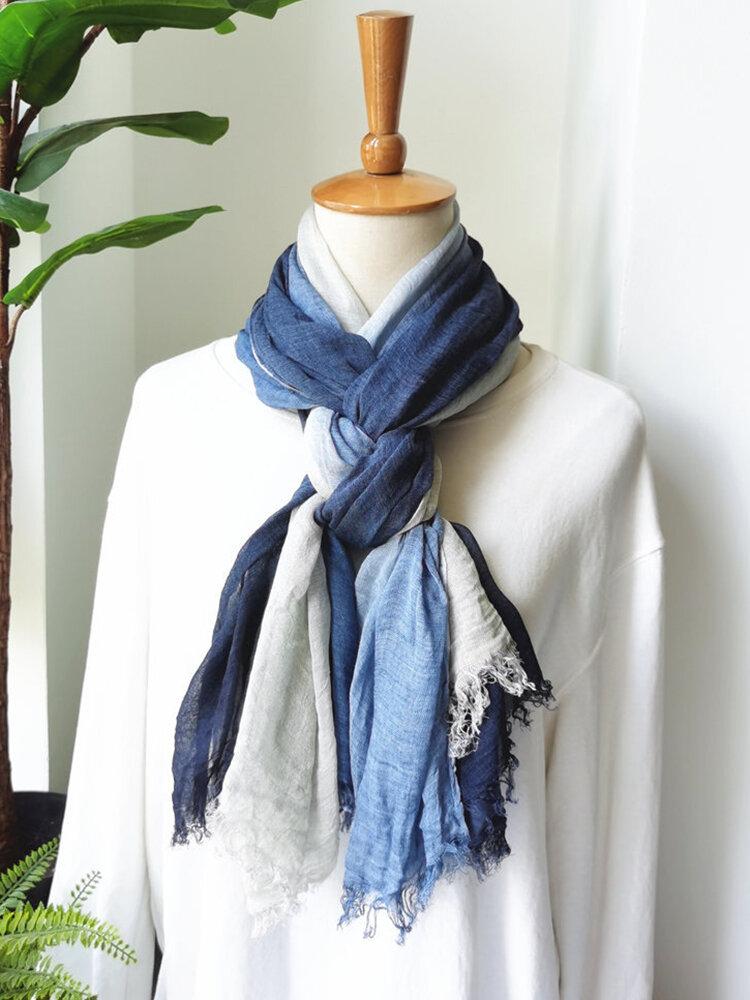 Sciarpa Autunno e Inverno Sciarpa letteraria in cotone e lino Sciarpa antirughe naturale di colore sfumato femminile