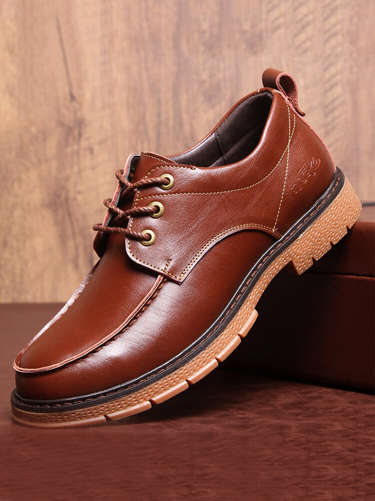 Men Lace-up Round Toe Hard Wearing Cowhide Leather Work Style Shoes