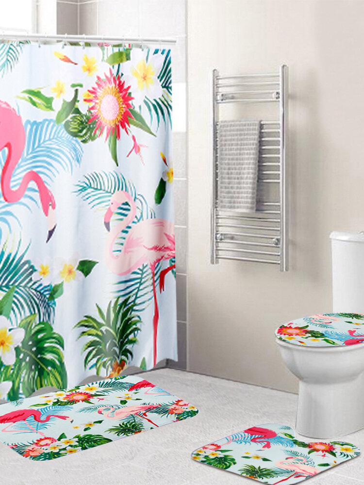 3 PCS Carpet Set Toilet Cover Bathroom Shower Curtain Sets Polyester Fabric