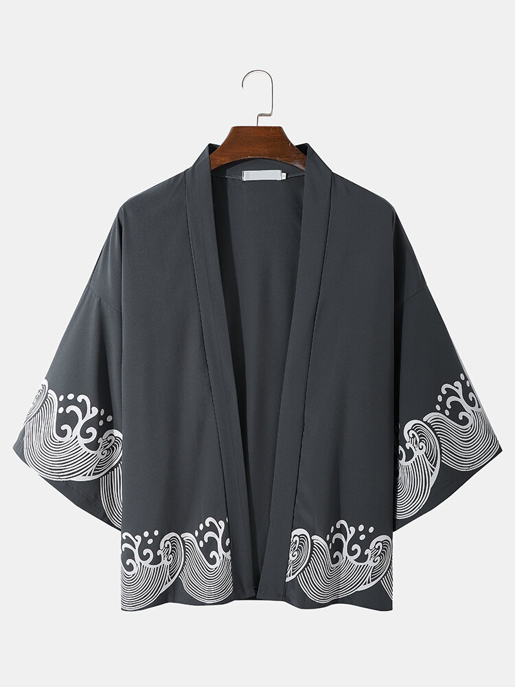 Mens Chinoiserie Waves Pattern Open Front Drop Shoulder Kimono
