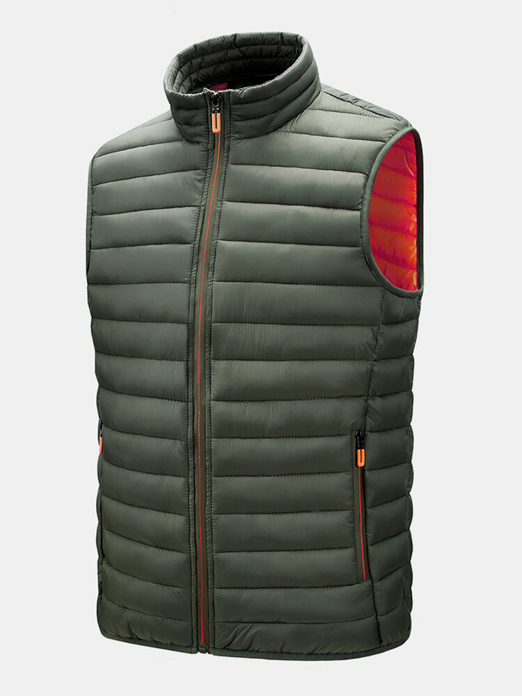 Mens Zip Up Quilted Solid Sleevless Padded Vests With Welt Pocket