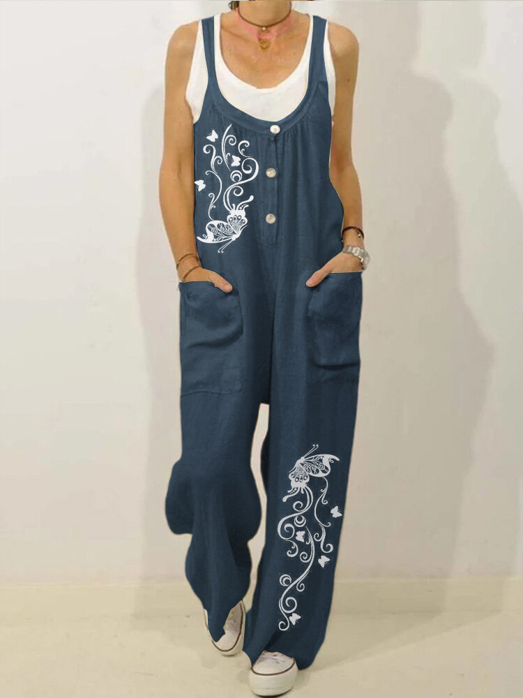 Ethnic Butterflies Print Straps Loose Casual Jumpsuit For Women