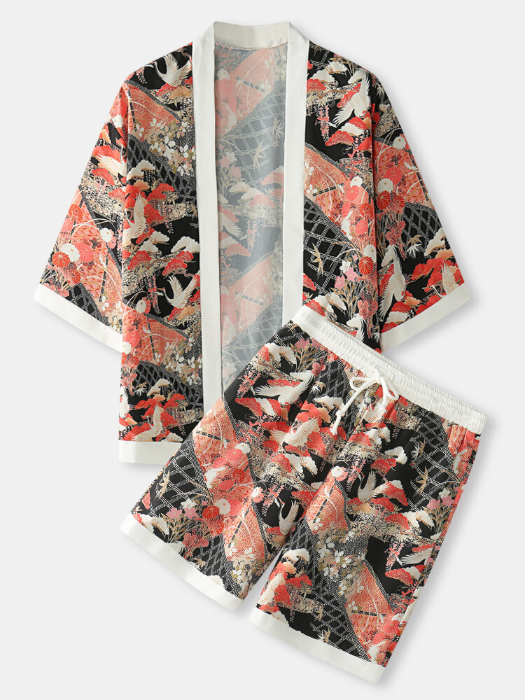 Mens Crane Floral Print Open Front Loose Kimono Two Pieces Outfits