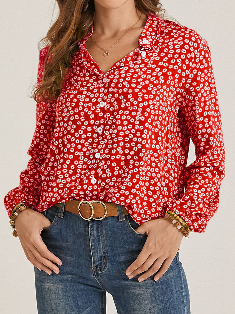 Stand Collar Long Sleeve Floral Print Button Women Casual Blouse