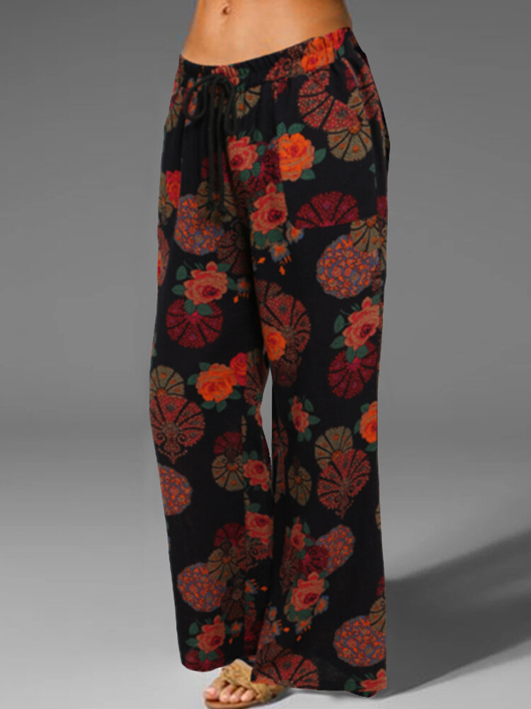 Casual Floral Printed Lace Up Elastic Waist Pants