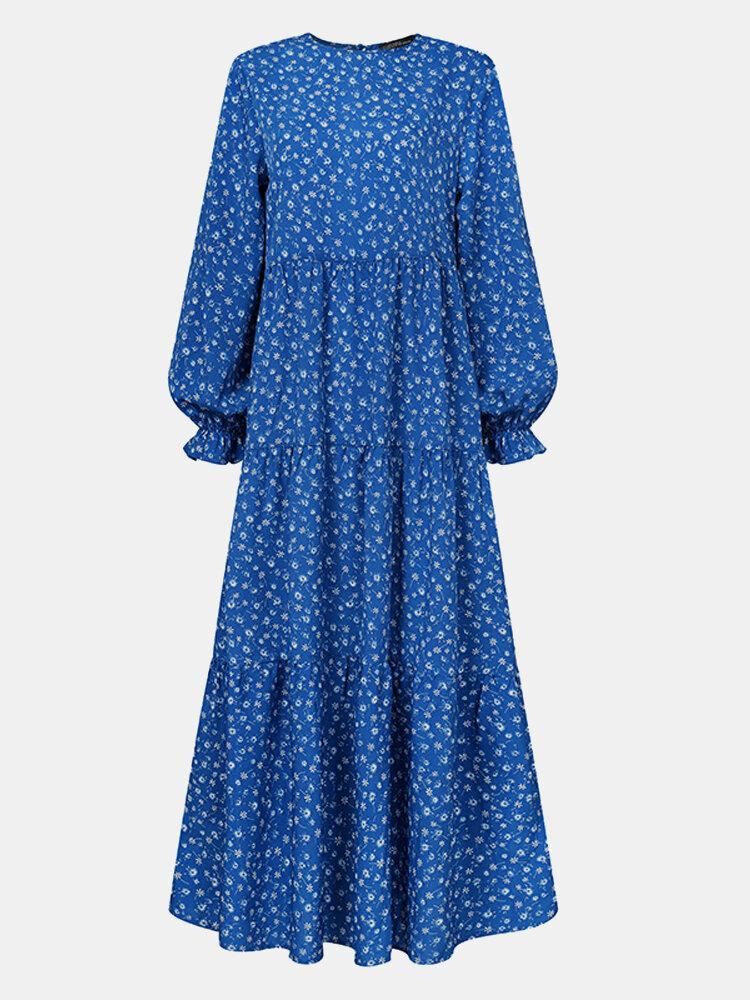 فستان إسلامي كاجوال بأكمام طويلة مكشكش بطبعة الأزهار للنساء