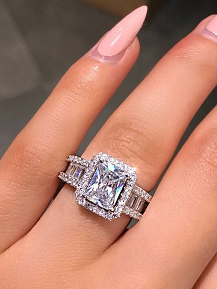 Vintage Square Zircon Inlaid Women Ring Party Jewelry