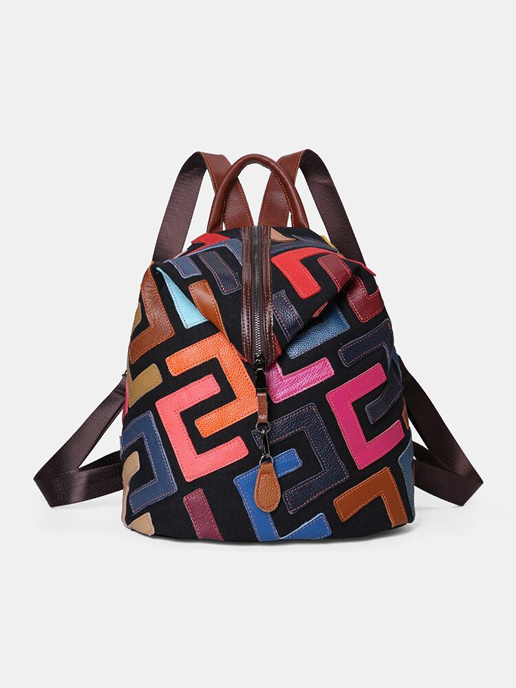 Damen Rucksack aus echtem Leder mit Patchwork-Nieten