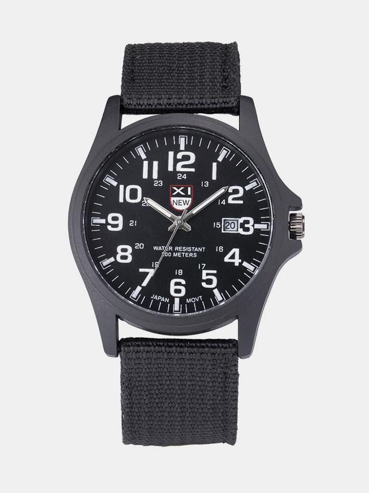 XINEW Casual Nylon Strap Calendar Analog Clock Quartz Watch Round Dial Military Men's Watches
