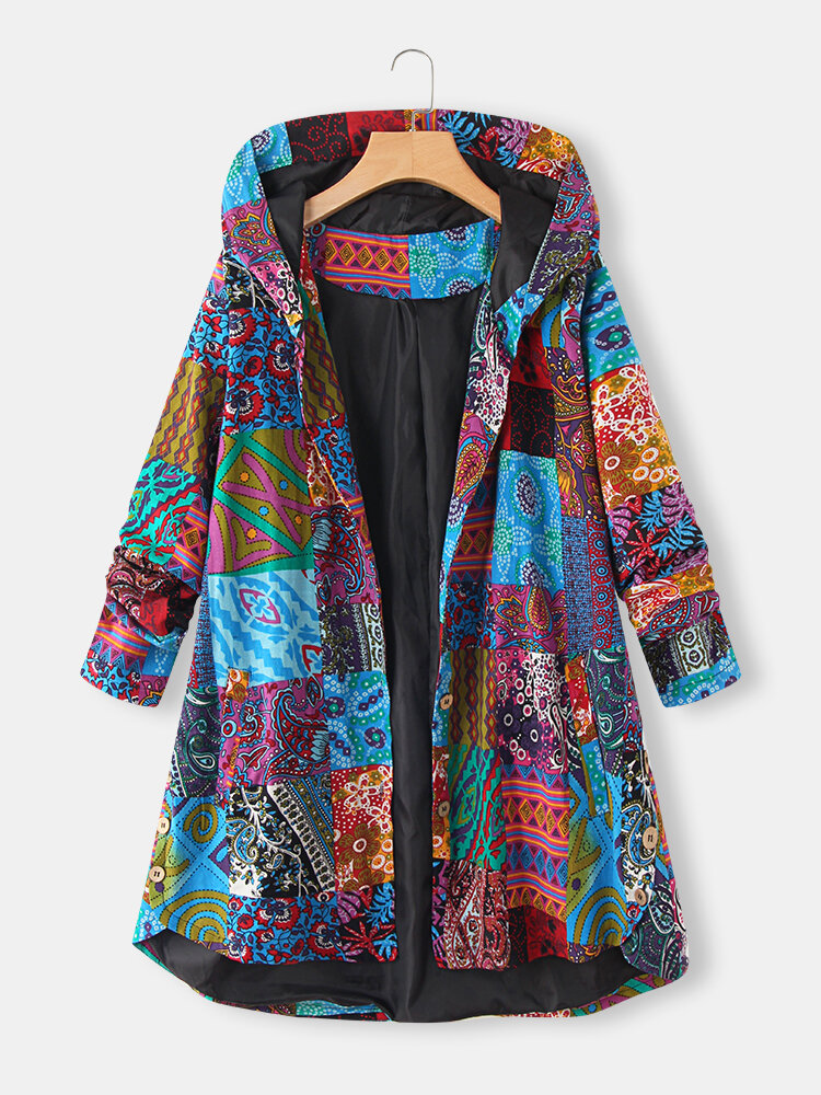 Ethnic Print High Low Hem Plus Size Hooded Jackets with Pockets