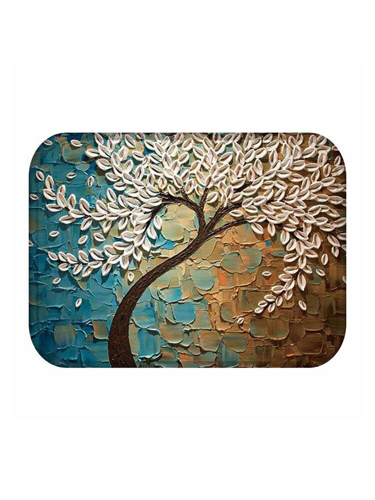 Inicio Painting Tree Patrón Alfombrilla de franela de coral Alfombrilla para sala de estar Alfombrilla para puerta Alfombrilla antideslizante