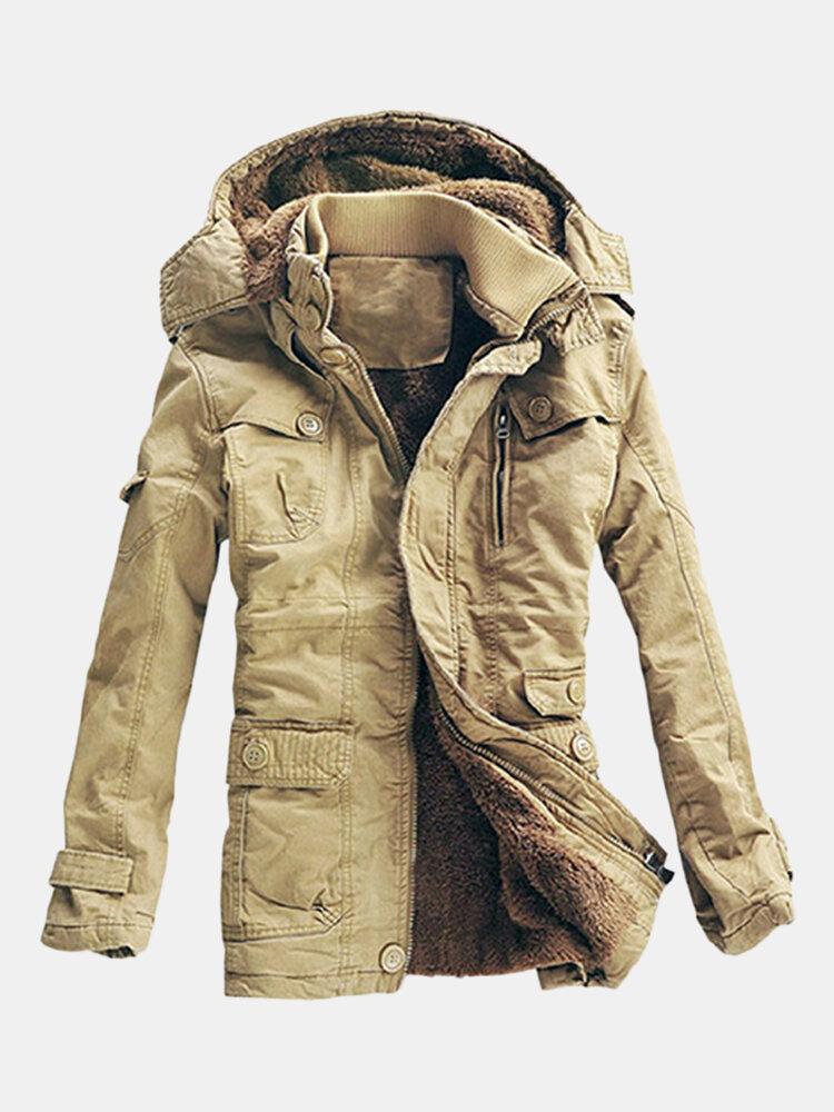 5XL Veste Grande Taille Chaude Doublée de Polaire Épaisse à Capuche avec Poches Manteau Mi long Couleur Unie en Coton pour Homme