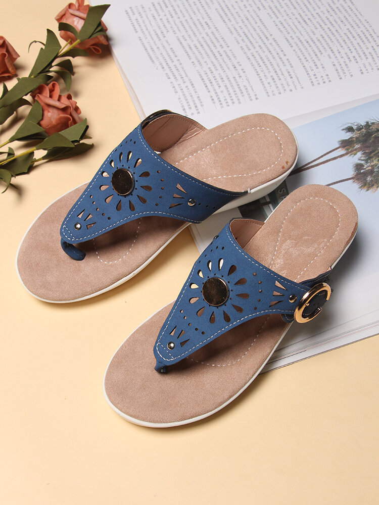 Large Size Women Carved Hollow Out Flip Flops Beach Platform Wedges Slippers
