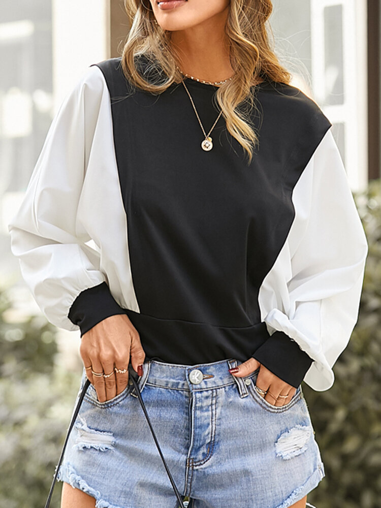 Patchwork O-neck Long Sleeve Casual Blouse For Women