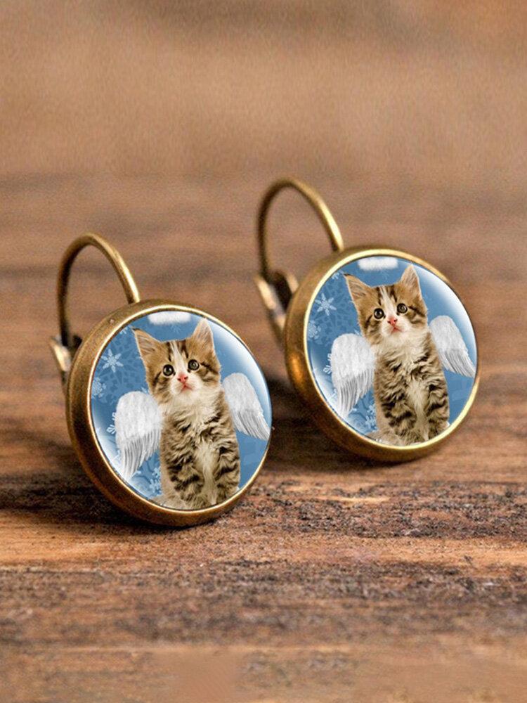 Vintage Glass Gem Dangle Women Earrings Animal Insect Cats Birds Pattern Earrings