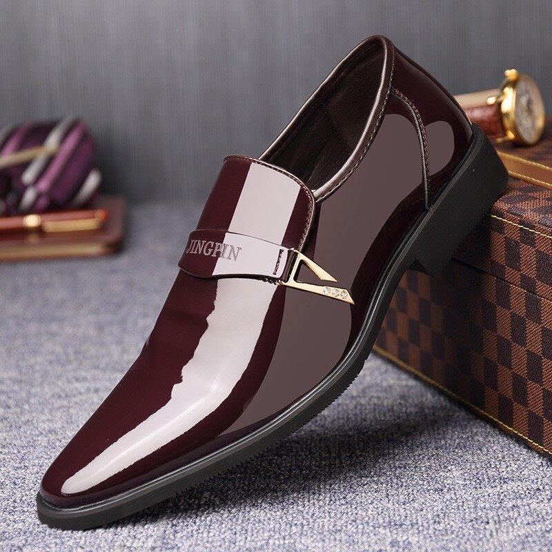 Men Metal Buckle Stylish Slip On Business Formal Dress Shoes