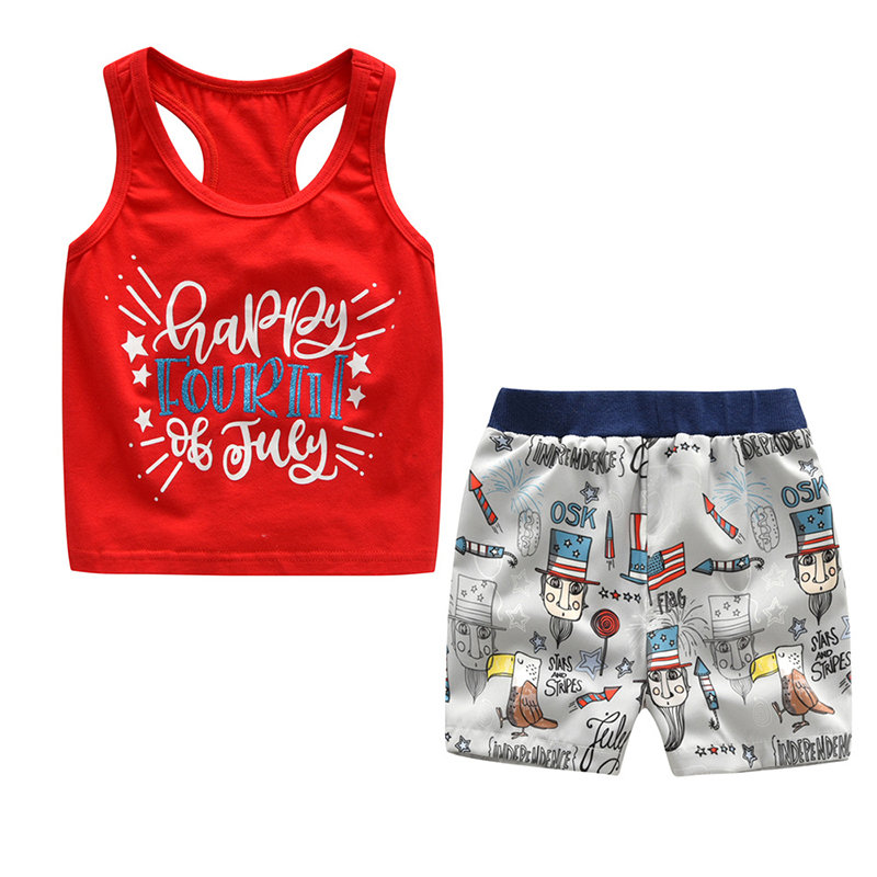 2Pcs Letter Printed Toddler Boys Clothing Set Sleeveless Summer Shorts For 1Y-7Y